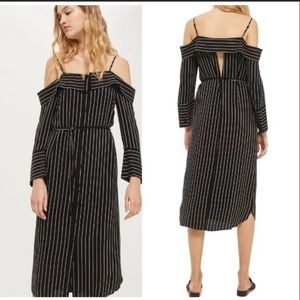 Topshop Black & White Pinstriped Midi Shirt Dress